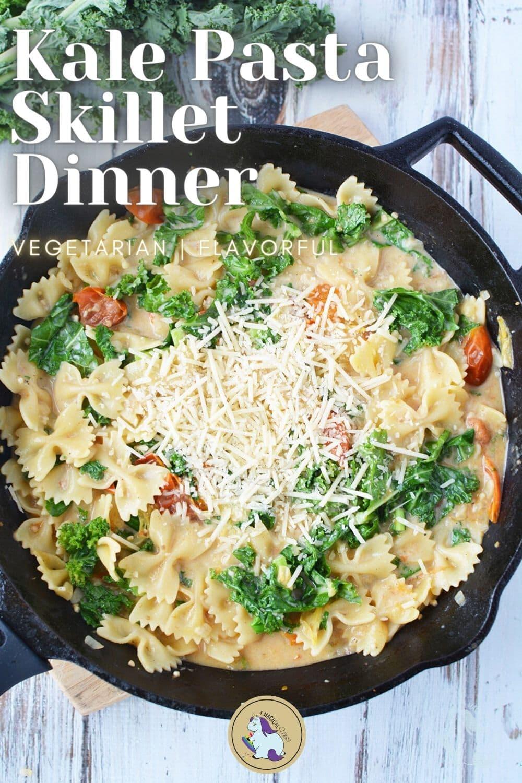skillet dinner of pasta and veggies