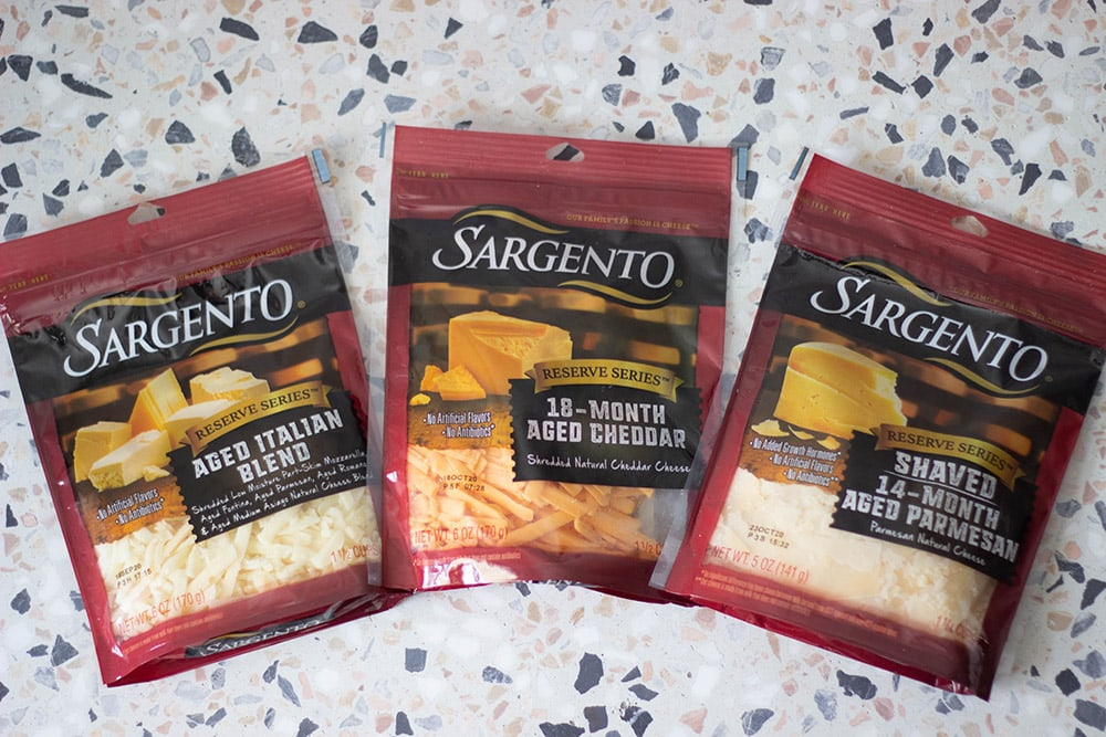 packages of shredded cheese