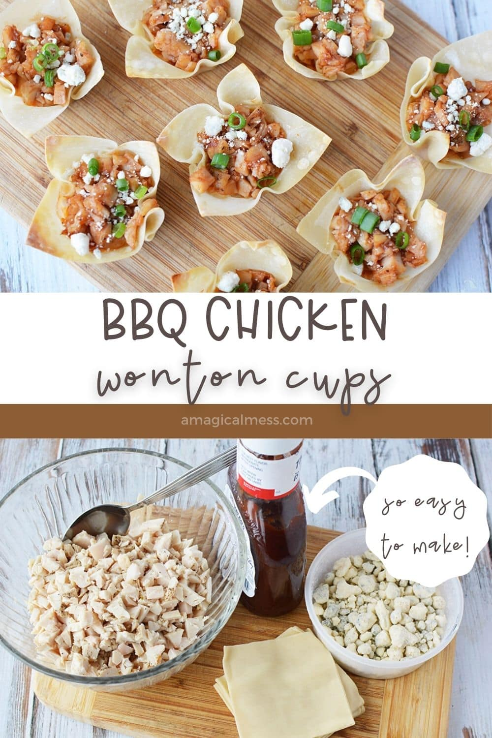 chicken wonton cups on a board and ingredients
