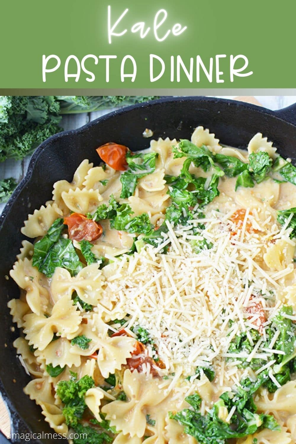 pasta in a skillet topped with cheese