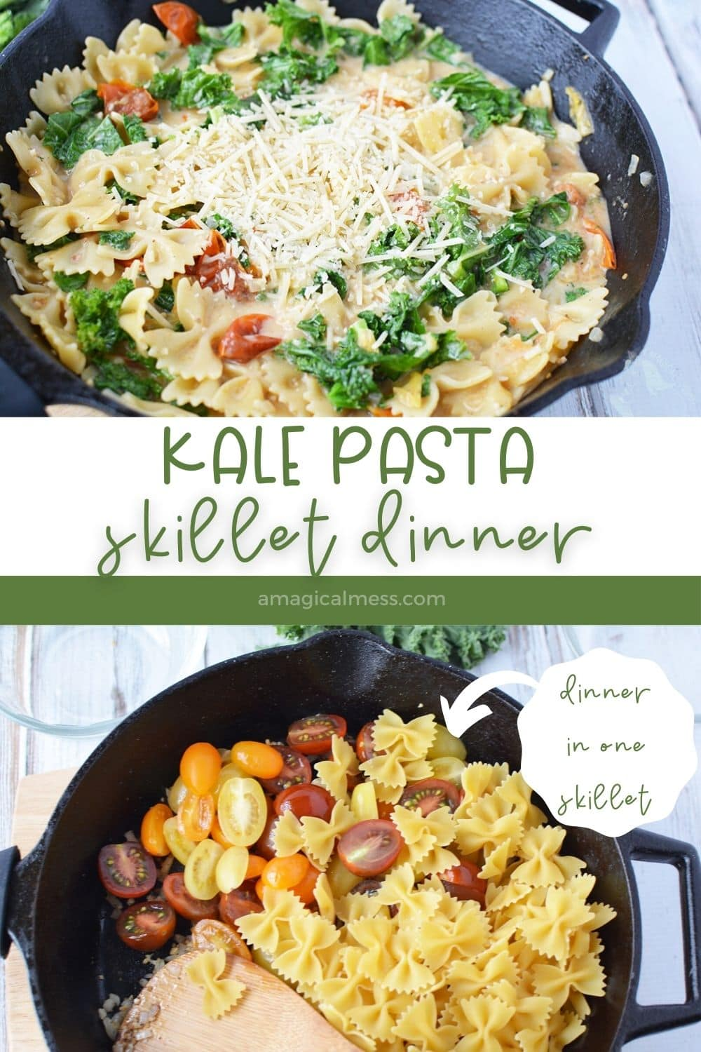 kale skillet dinner with pasta and other veggies