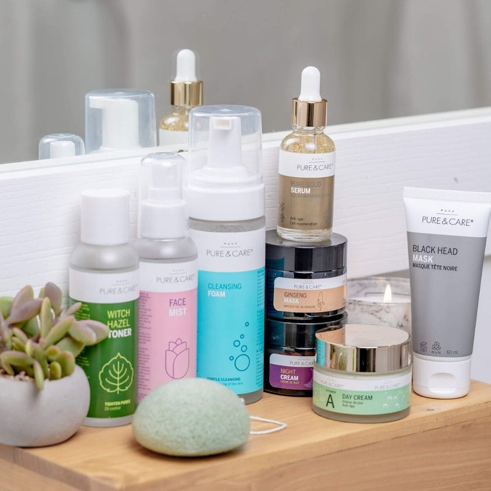 Pure & Care skin care products on a bathroom counter
