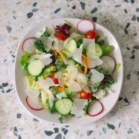 overhead shot of a salad