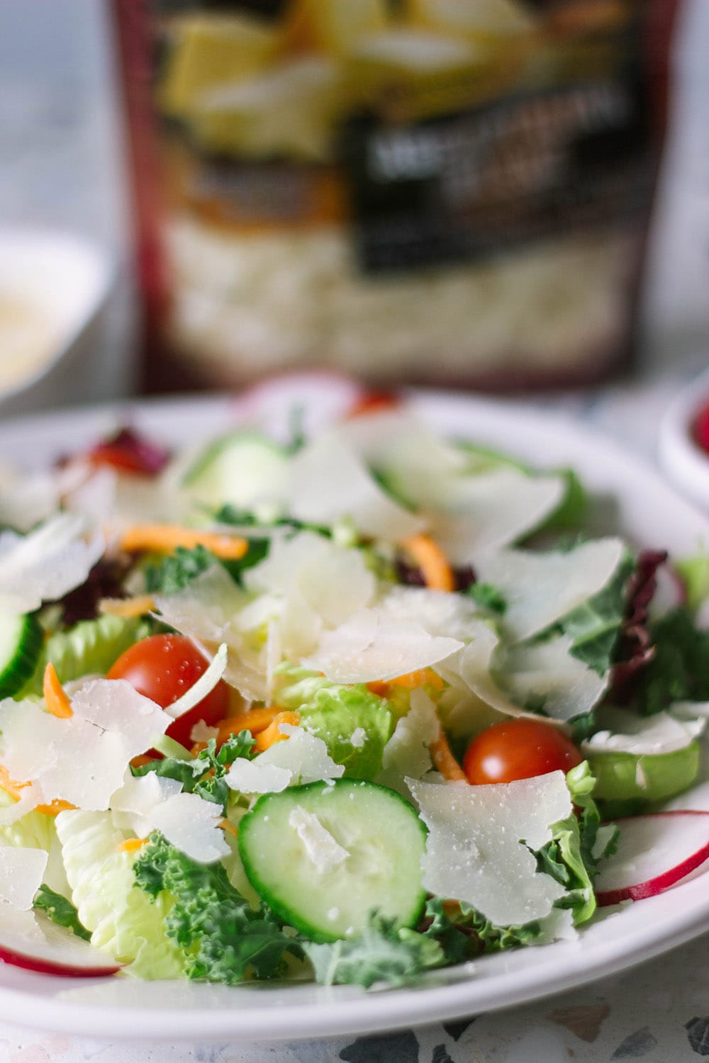 salad with shaved parmesan