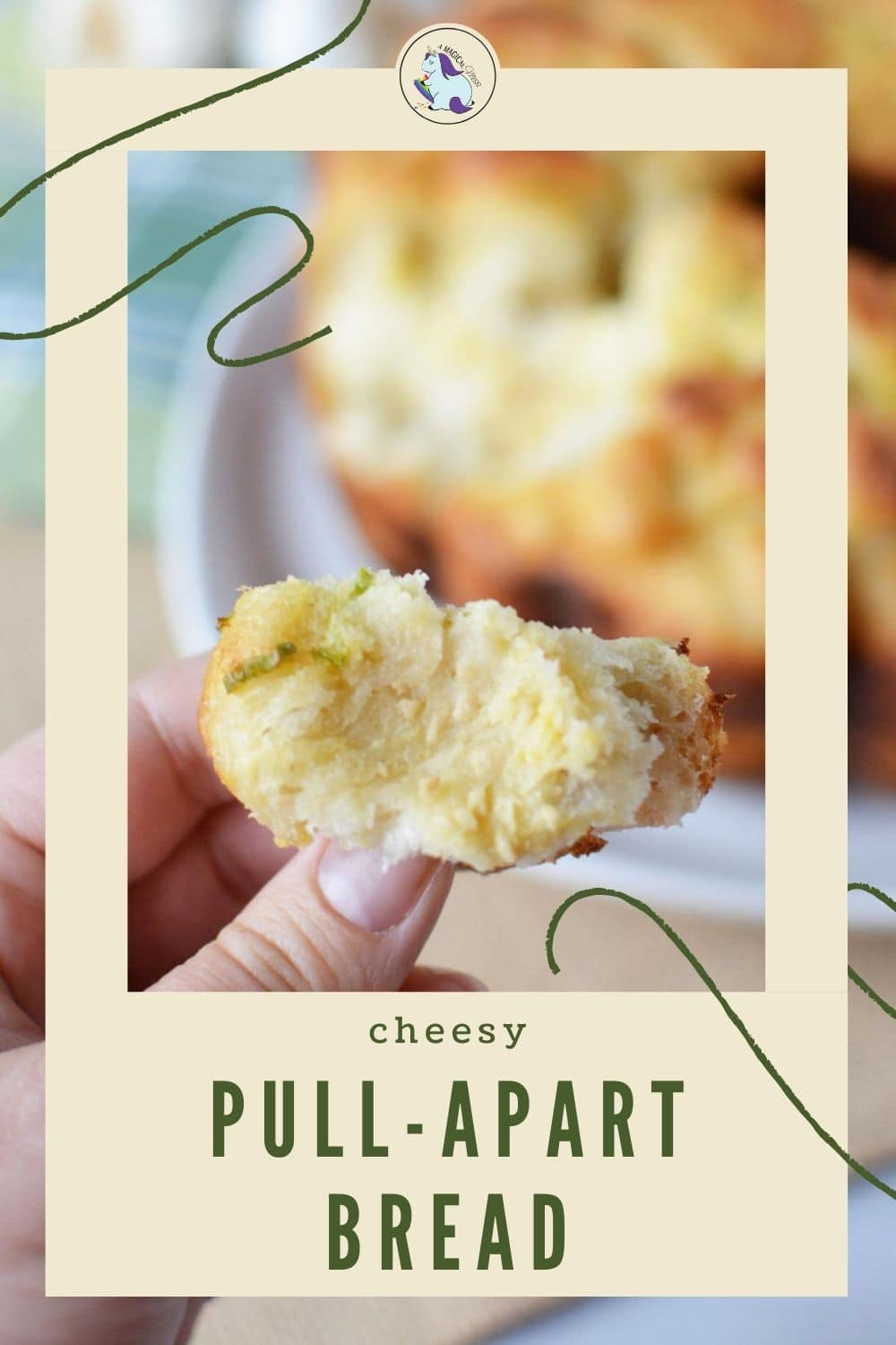 holding a piece of pull apart cheese bread