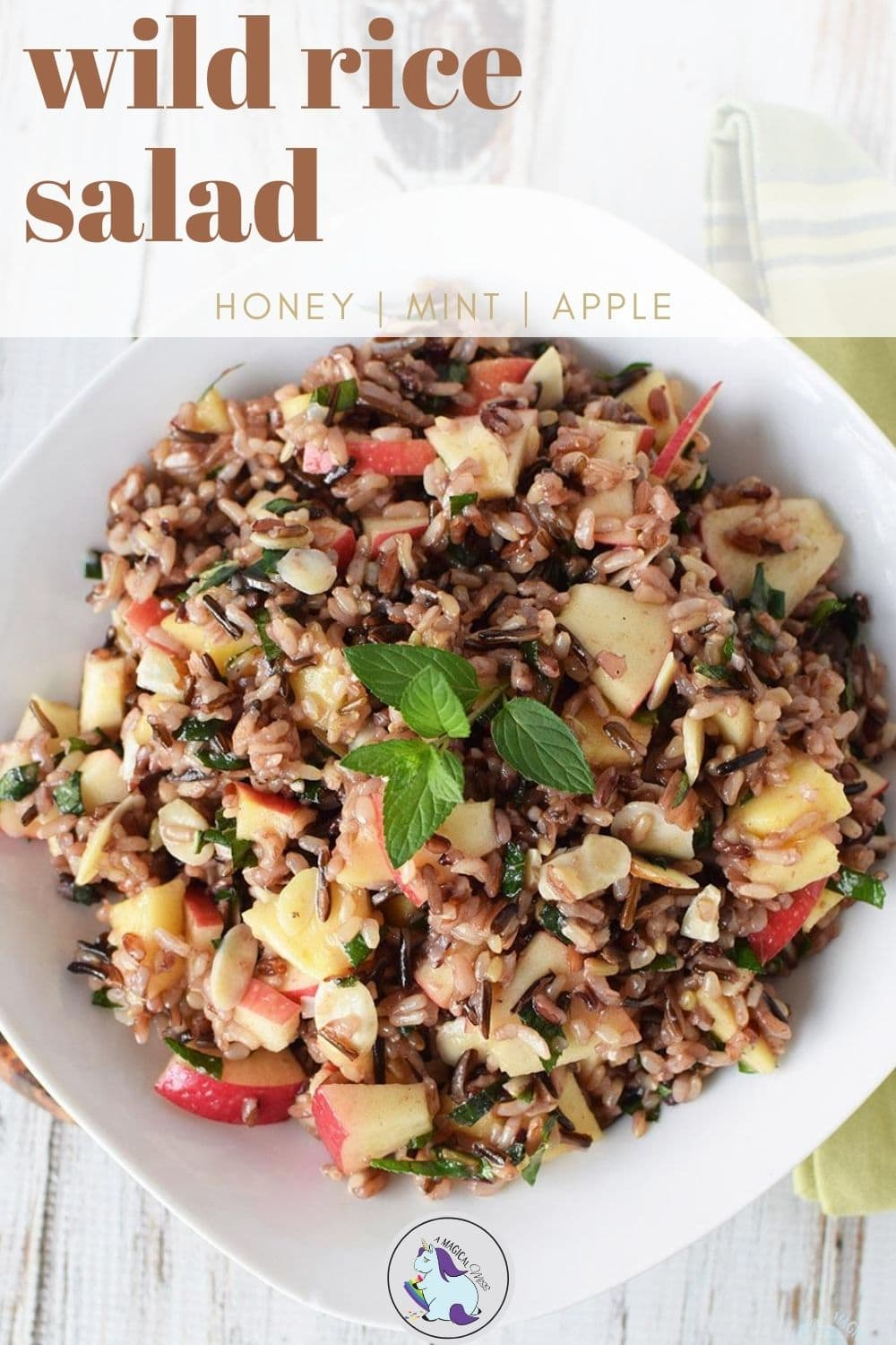 overhead shot of wild rice salad with apples and mint