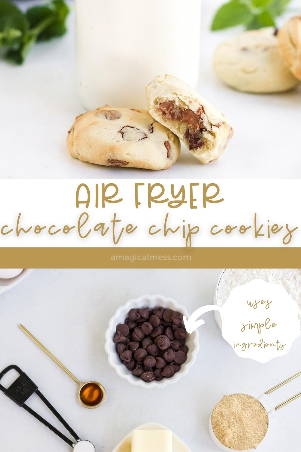 Cookies in front of air fryer and shot of ingredients