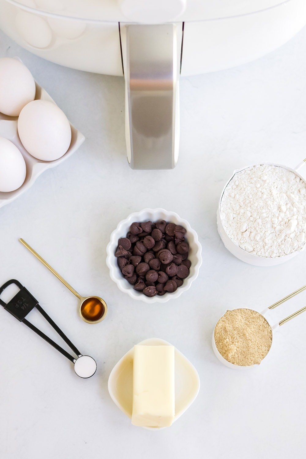 overhead shot of air fryer cookie ingredients
