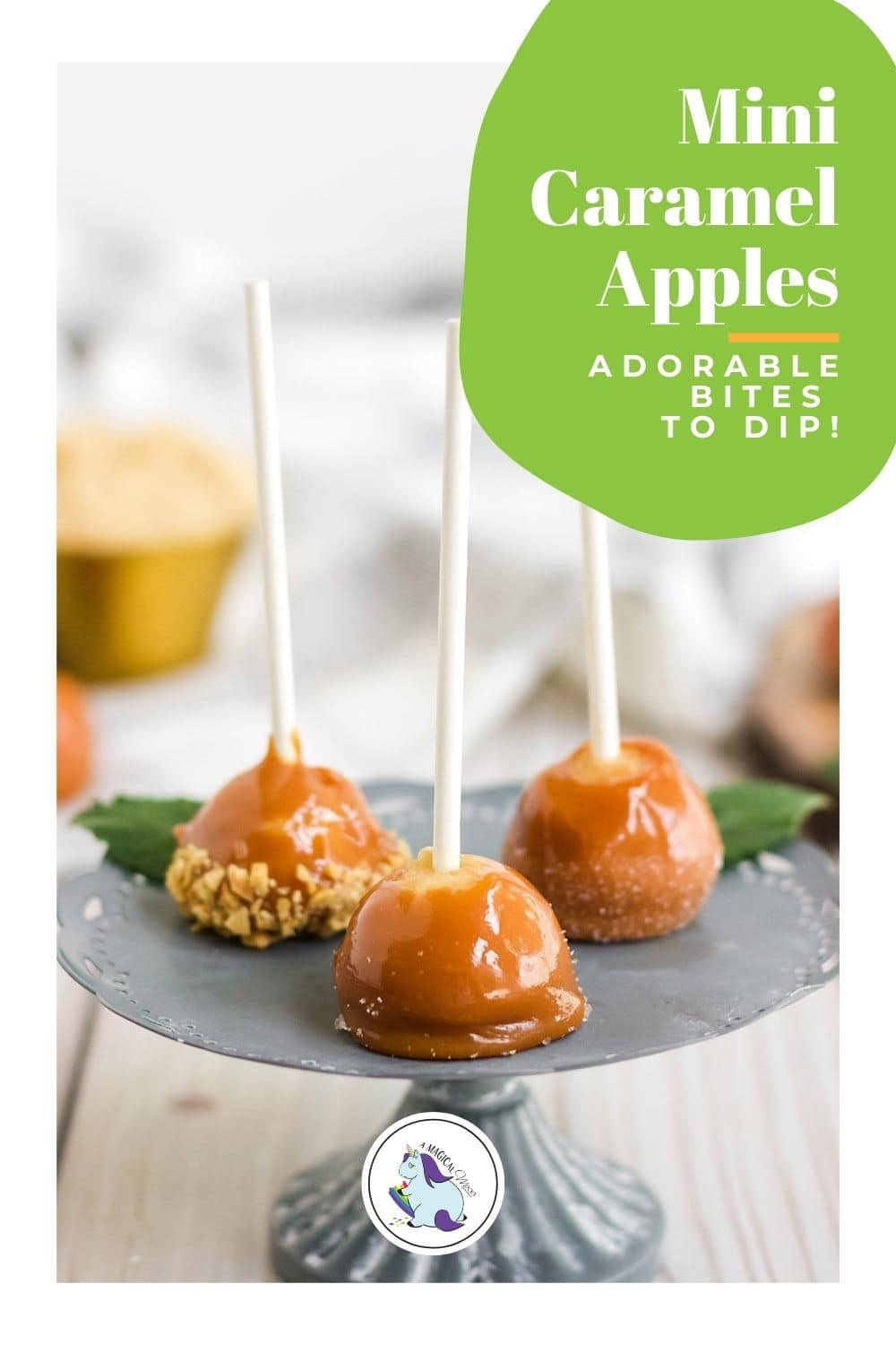 mini candy apples with sticks on a stand