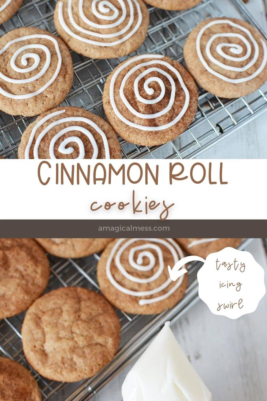 cinnamon roll cookies on a rack