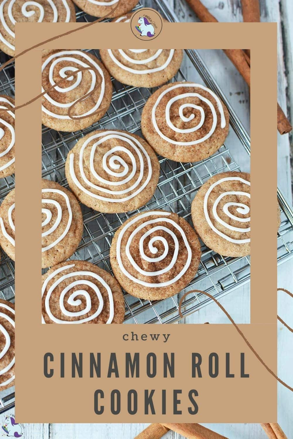 cinnamon cookies with icing swirl on a cooling rack