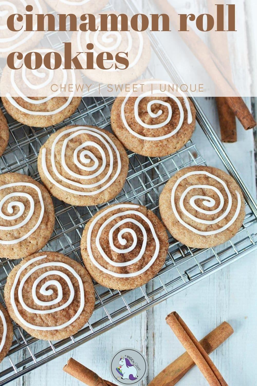cinnamon swirl cookies on a baking rack