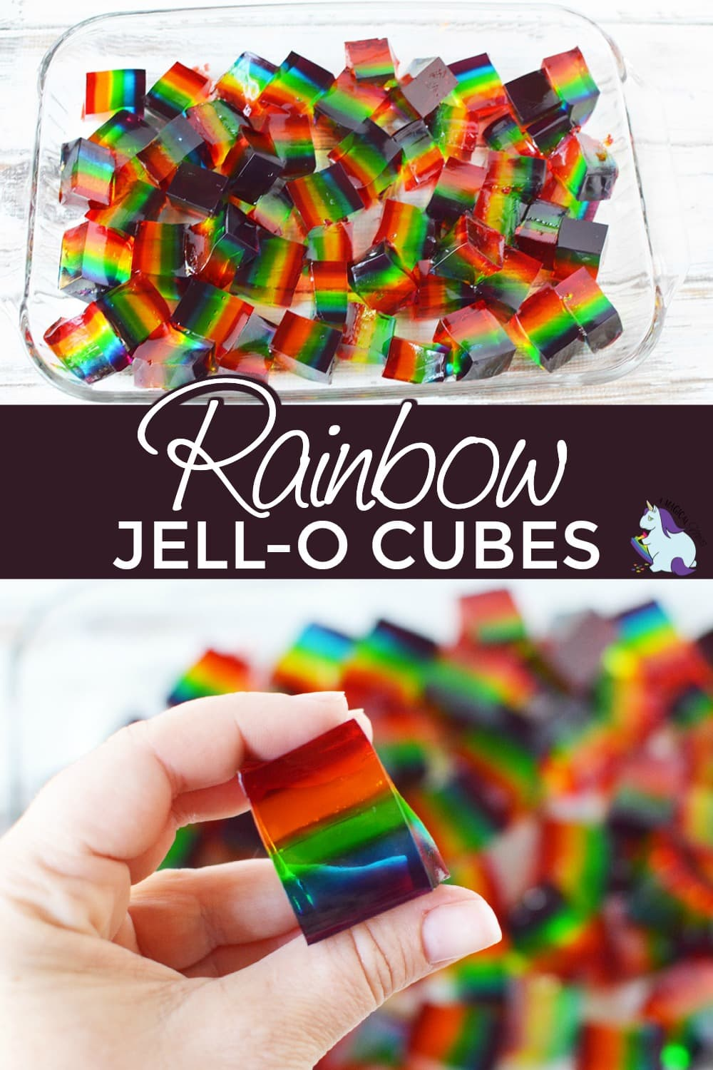 rainbow jello cubes in a pan