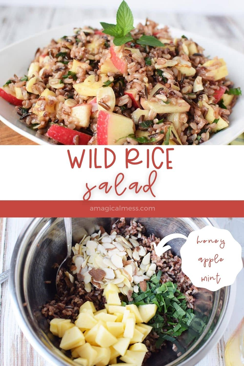 rice salad in bowl and ingredients