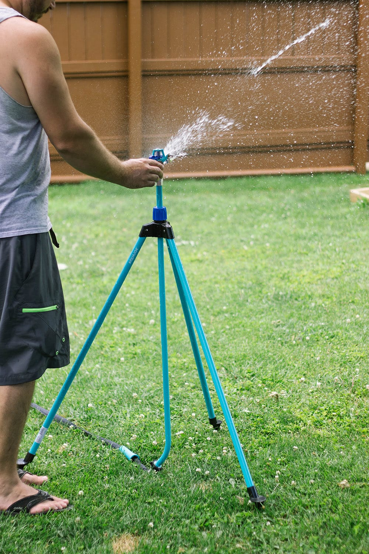 telescoping sprinkler in yard