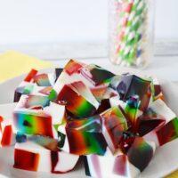 rainbow jello cubes on a plate