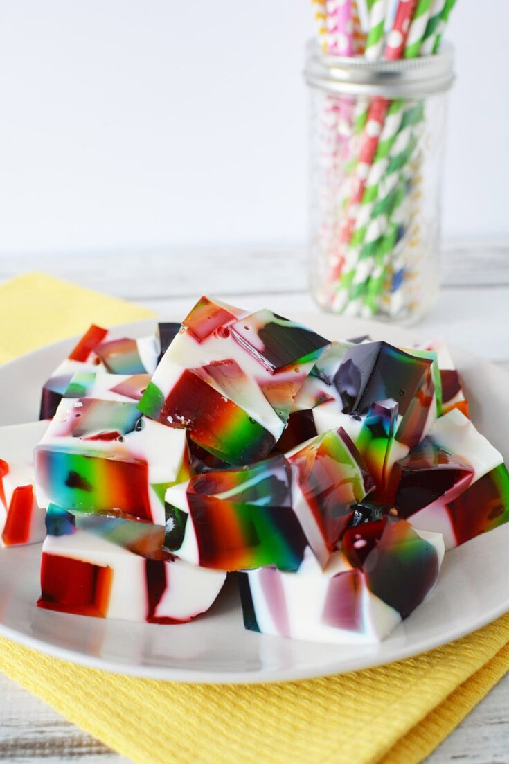 rainbow jello cubes on a plate