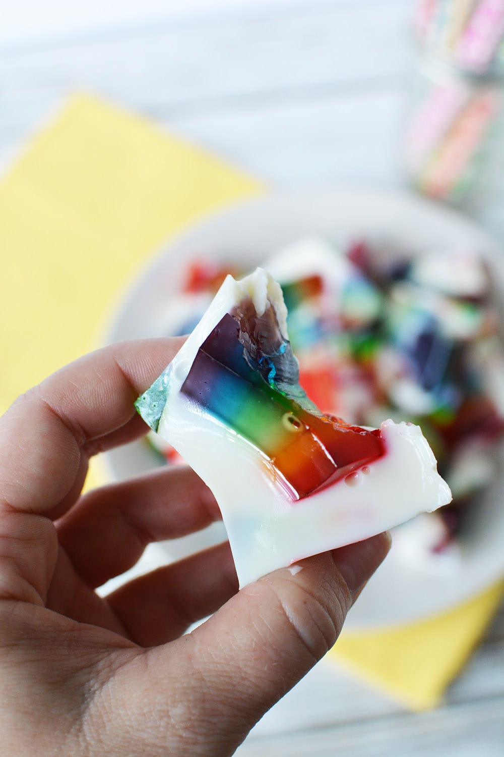 bite out of a stained glass jello cube