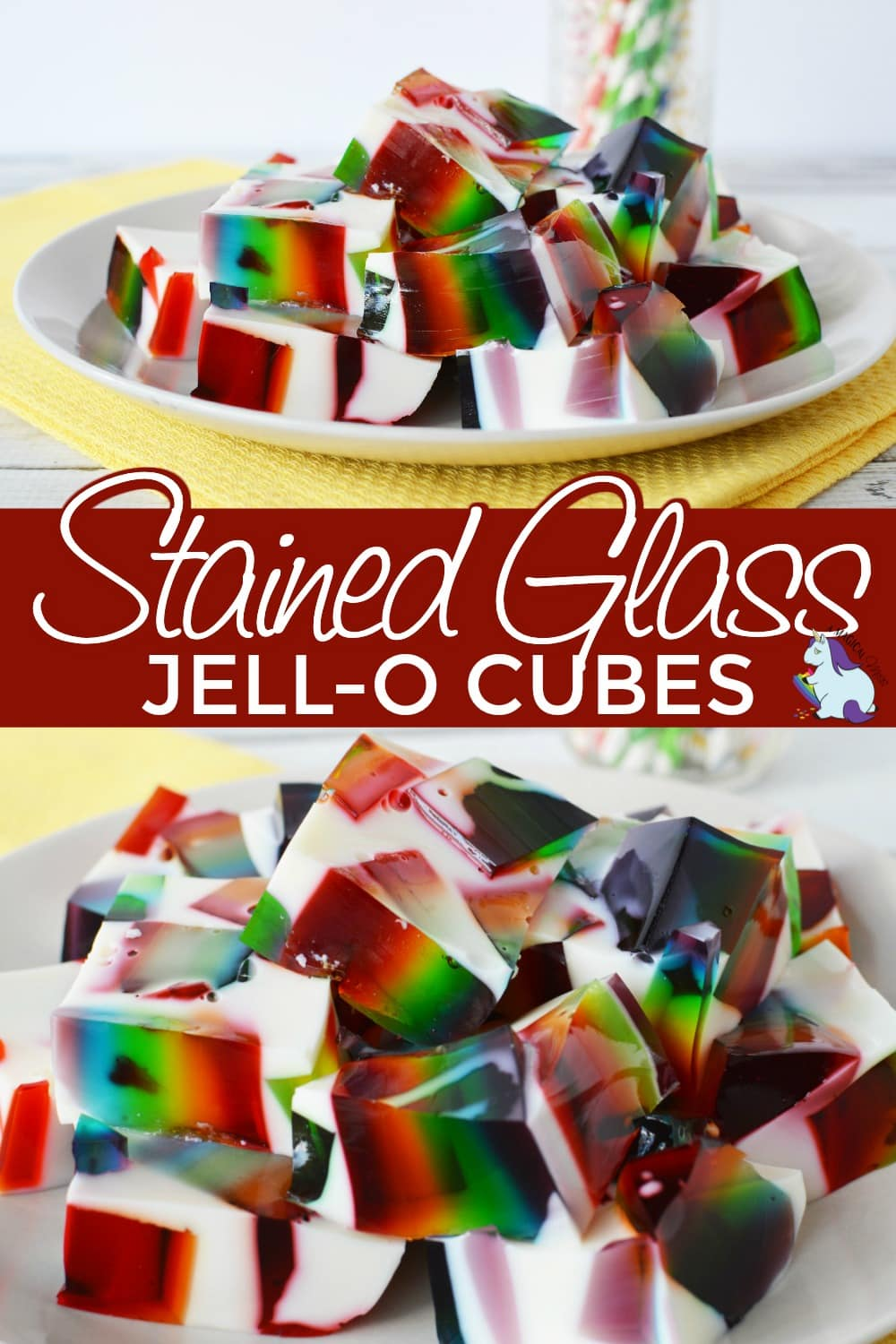 stained glass jello on plates