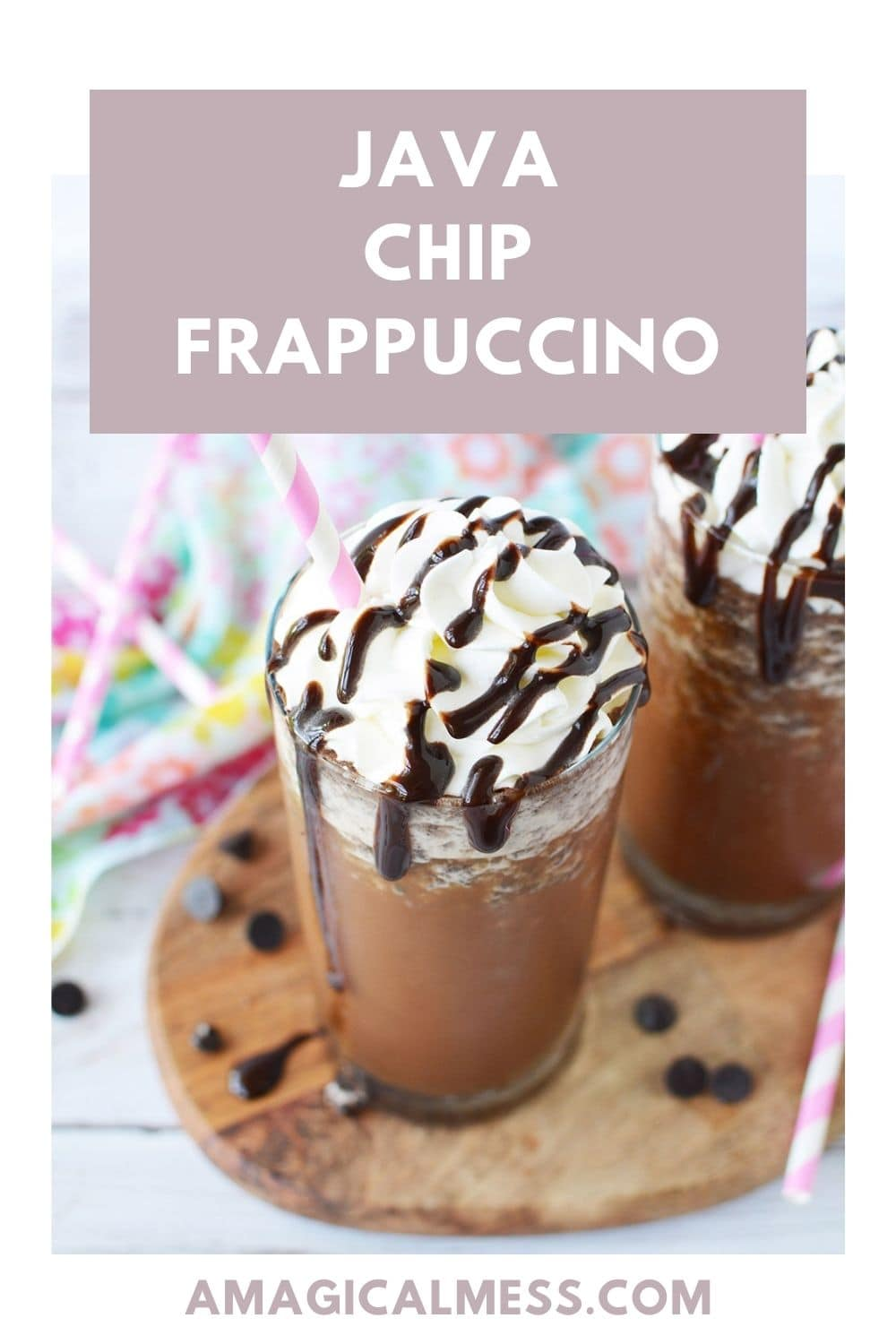 Java chip frappuccino in a glass with chips around it