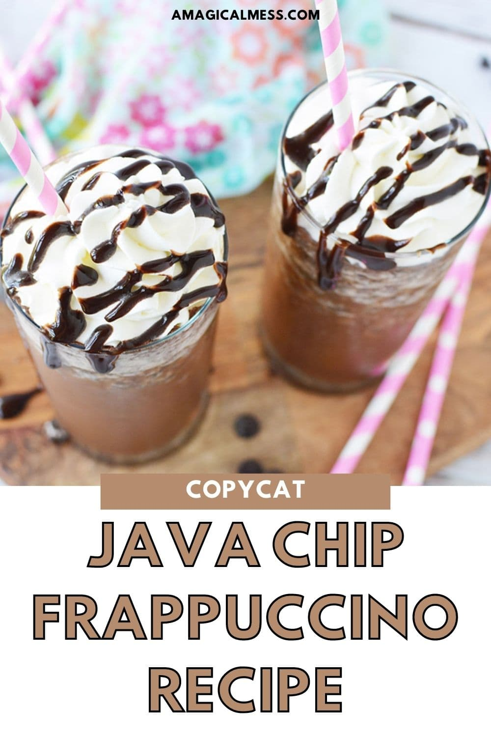 java chip frappuccinos topped with whipped cream and syrup