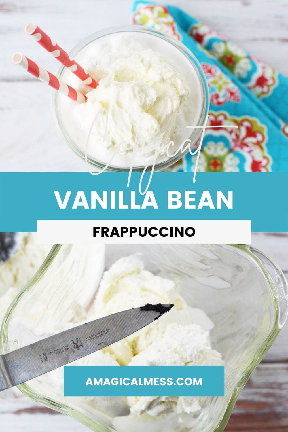 glass of a vanilla frappuccino and vanilla bean on a knife