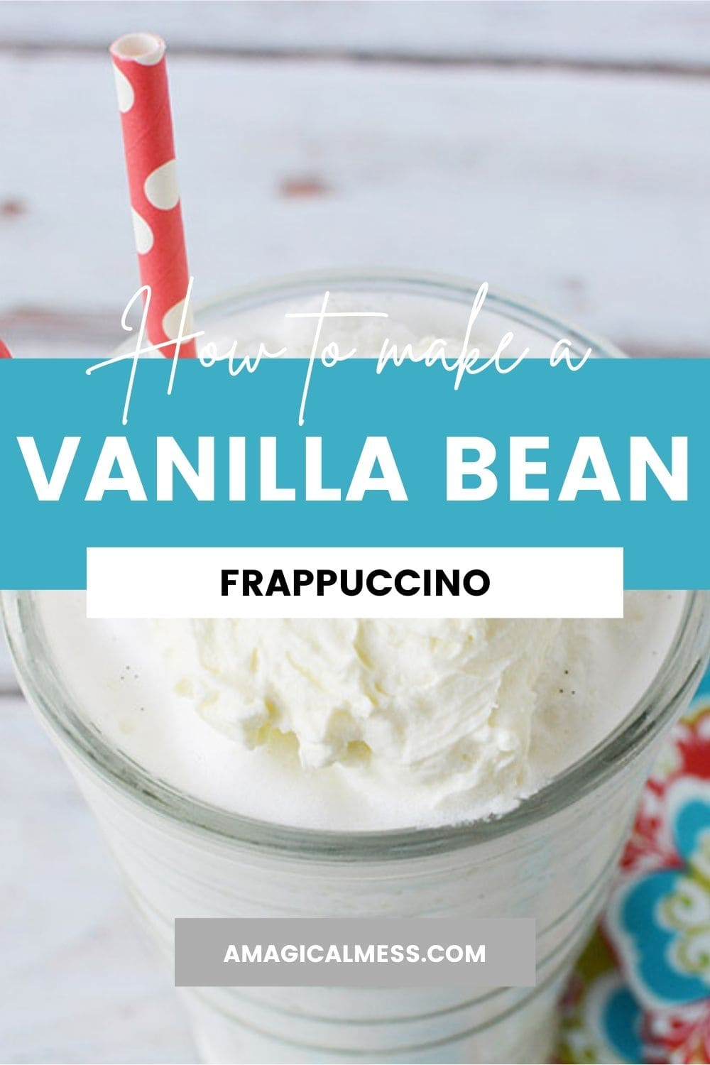 vanilla bean frappuccino in a glass with a straw