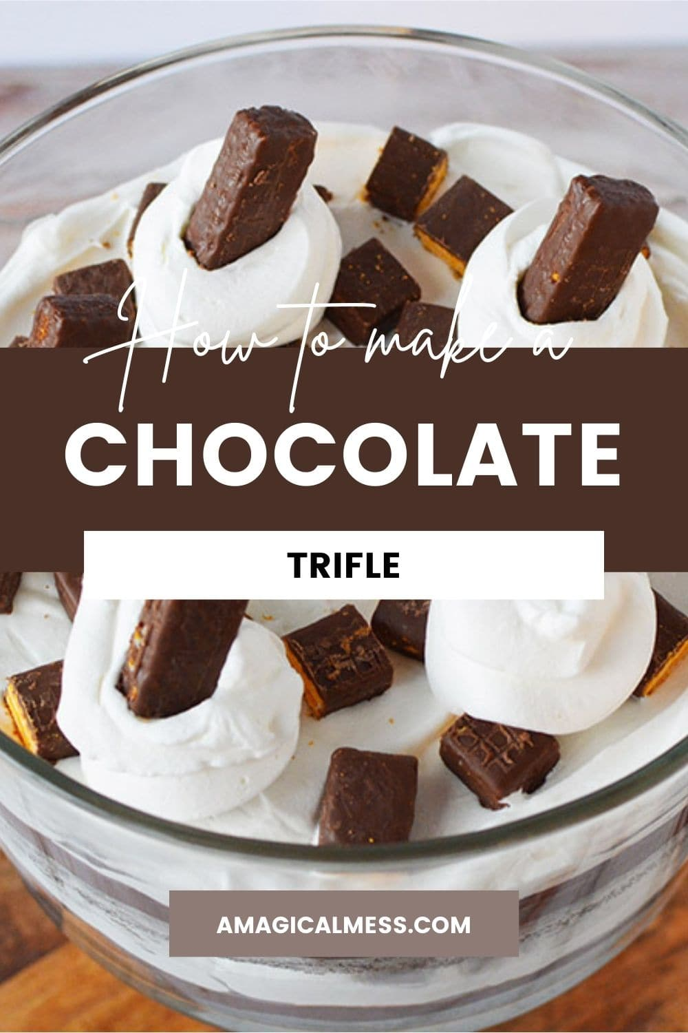 Fudge stick cookies in whipped cream topping a chocolate cake trifle