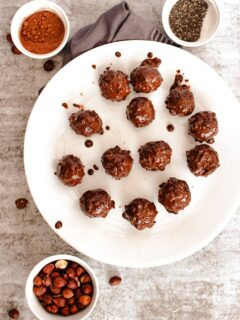 overhead shot of date energy balls on a plate