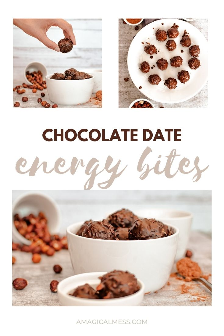 images of chocolate covered coconut date energy bites