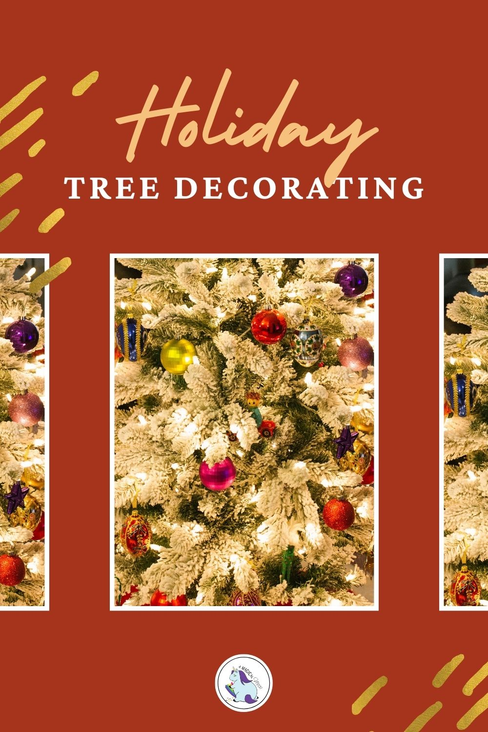 images of a flocked christmas tree with ornaments
