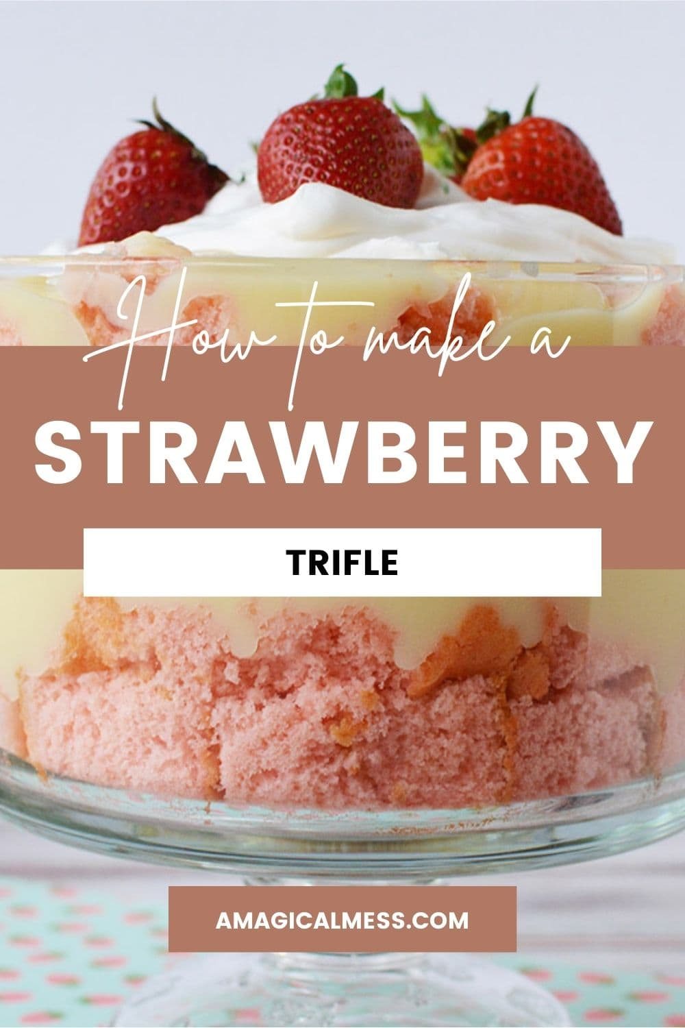 layers in a strawberry cheesecake trifle