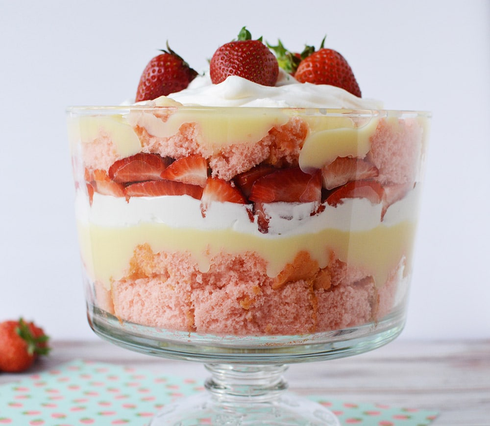 strawberry cheesecake trifle on a table