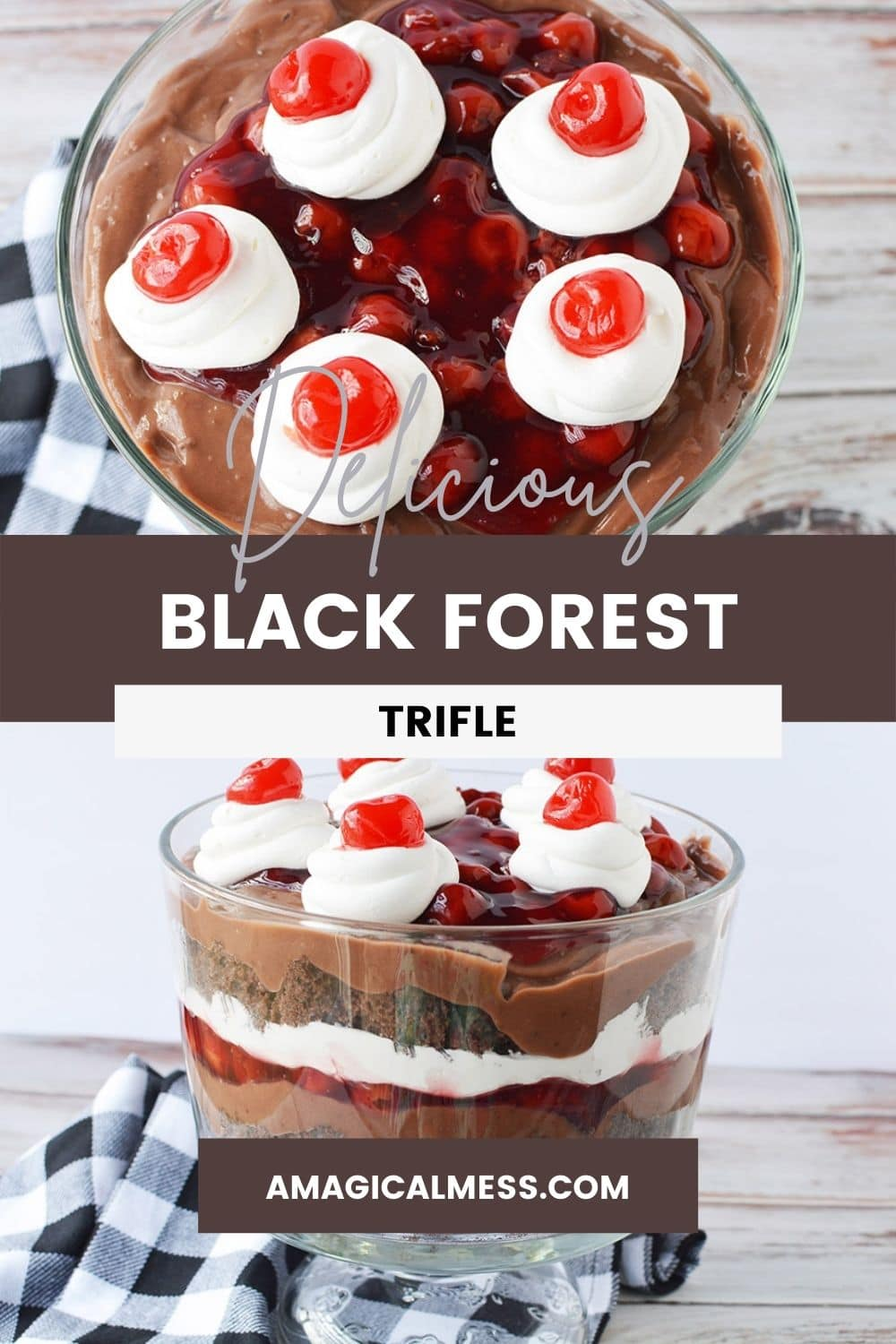 Top of a trifle topped with cherries and black forest trifle in a bowl.