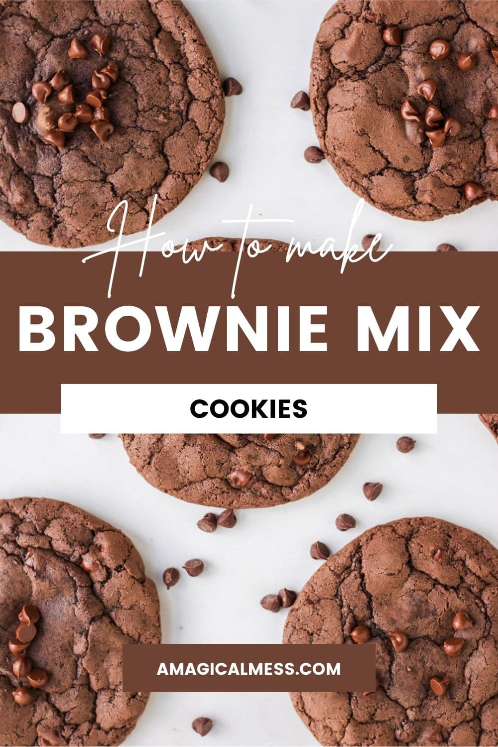 Overhead shot of brownie cookies with chocolate chips on a table.