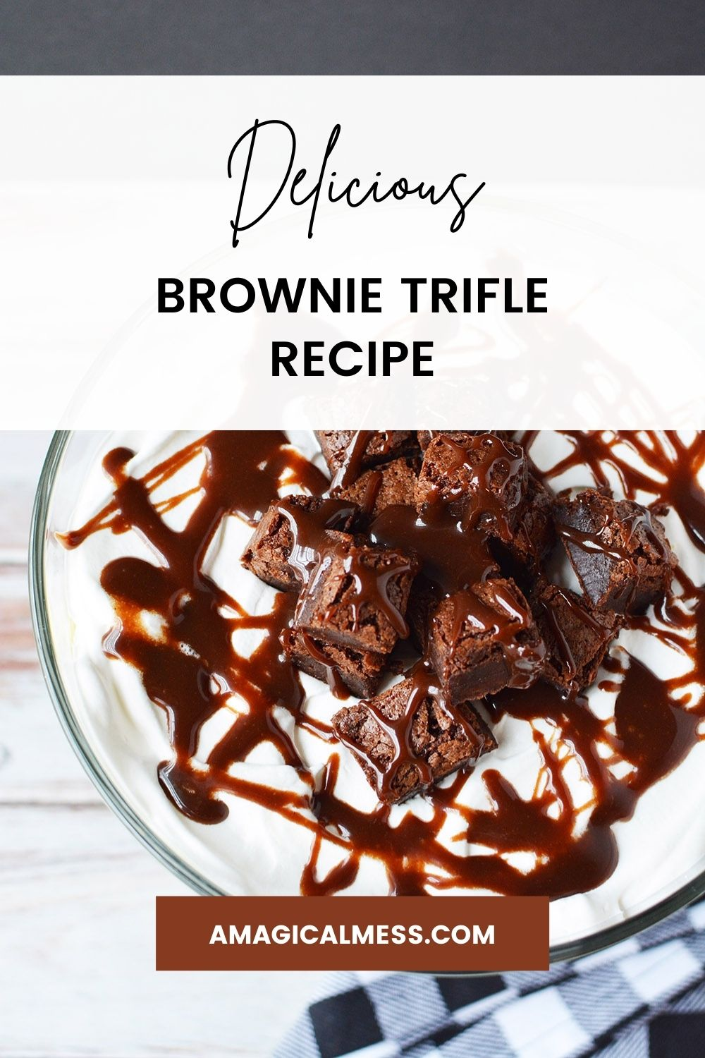 Top of a brownie trifle with hot fudge.