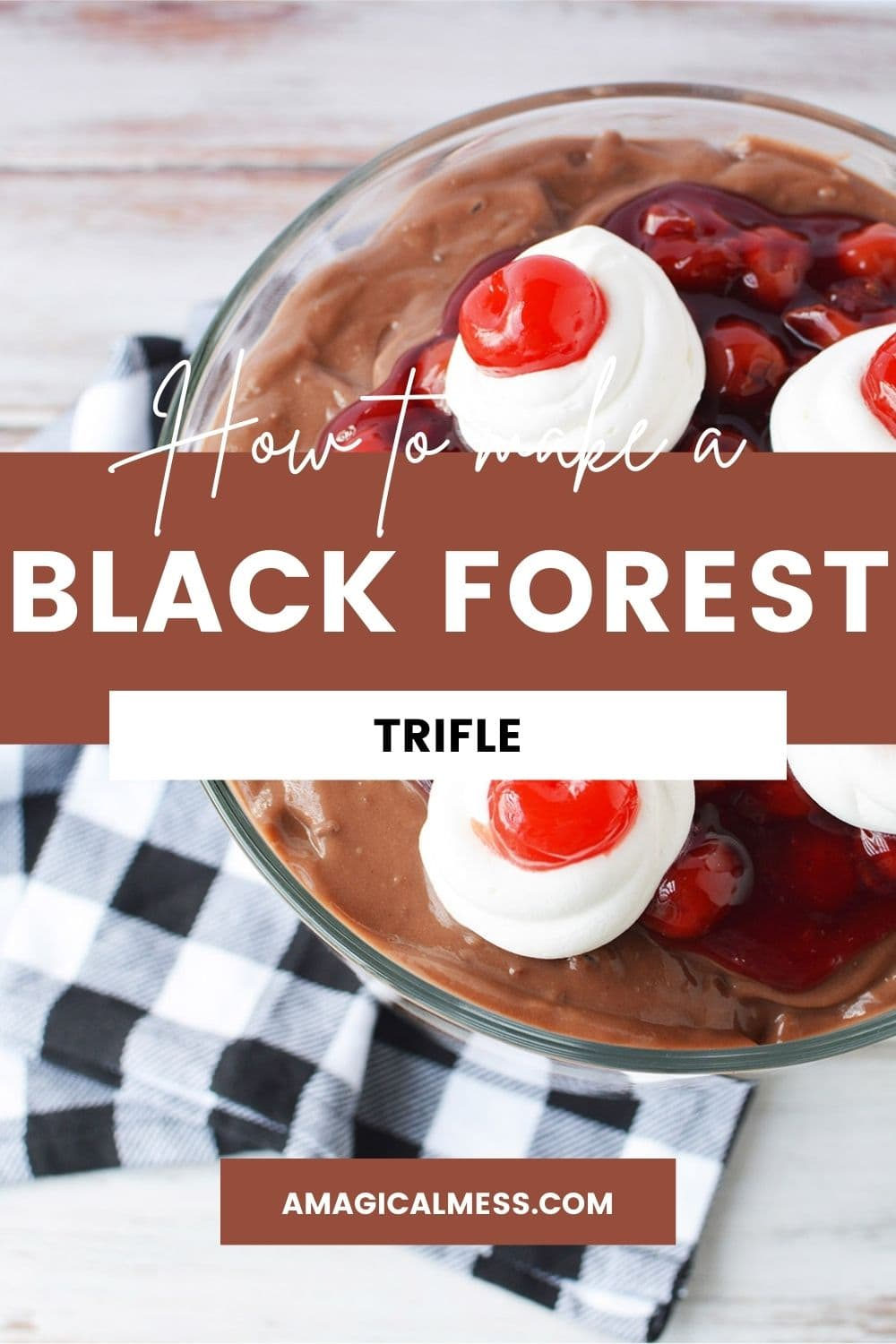 Top of a black forest trifle topped with cherries.