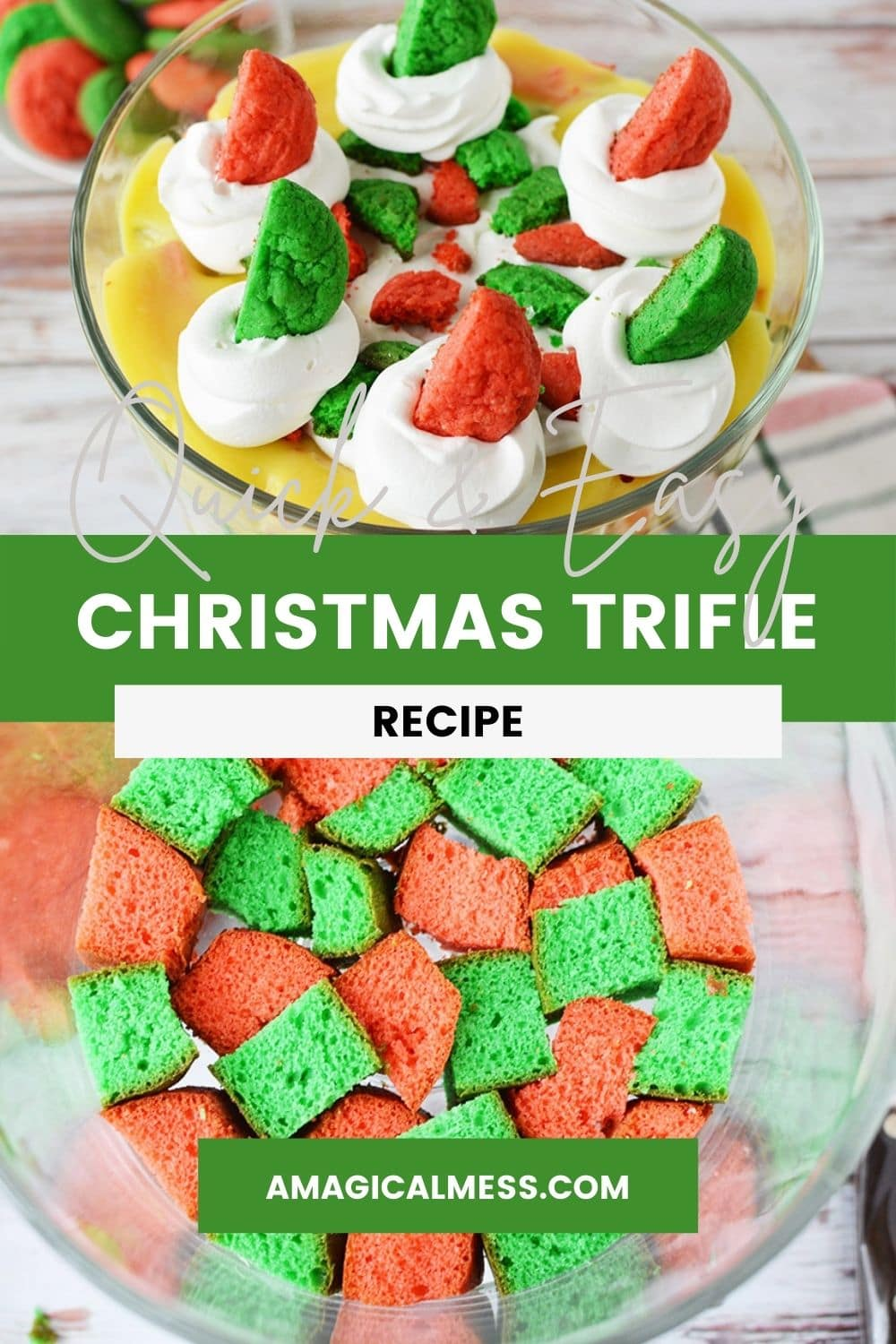 Red and green cake and completed Christmas trifle
