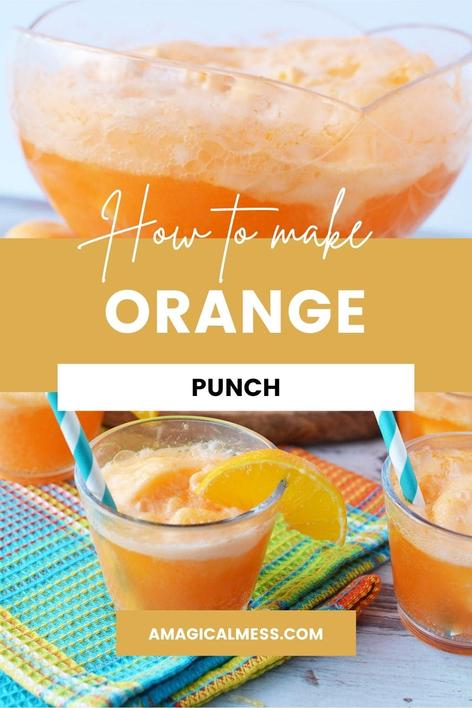 Bowl full of orange sherbet punch and glasses of it.