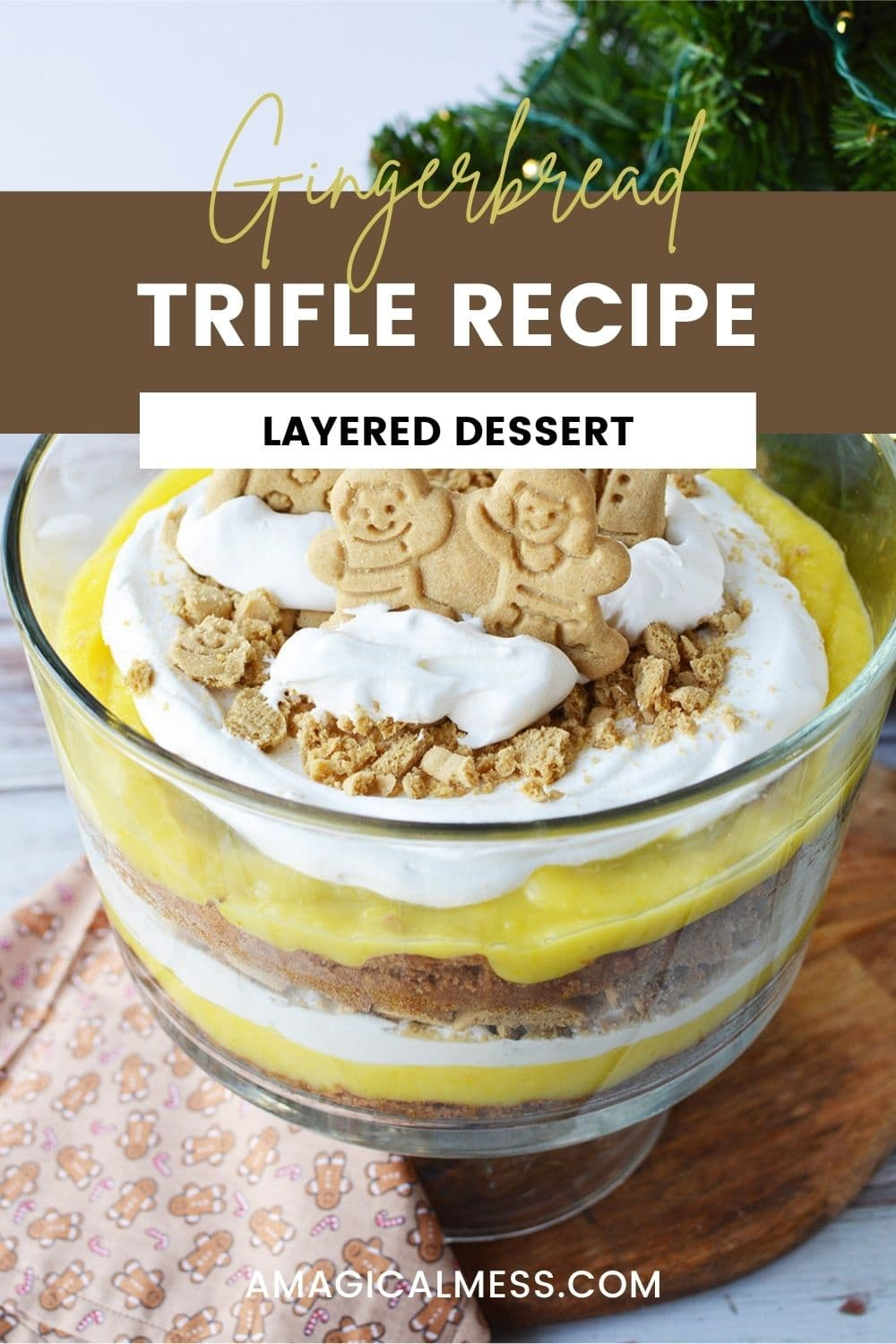 Gingerbread family cookies on top of a spice cake layered trifle.