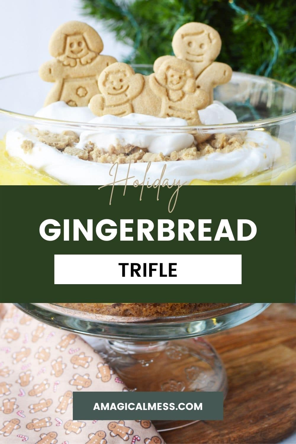 Gingerbread family cookies on a pudding trifle