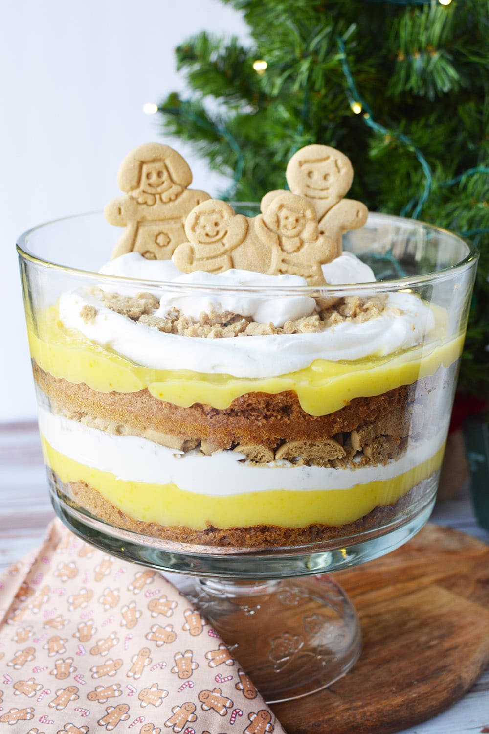 Gingerbread trifle with a Christmas tree on the table.