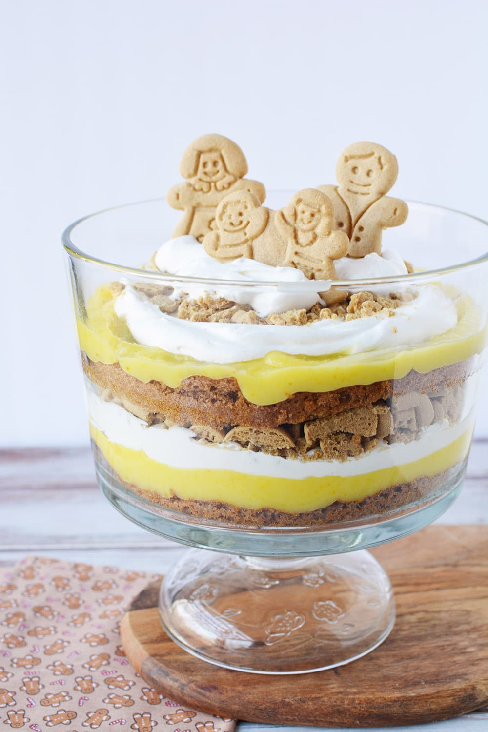 Layers of pudding, whipped cream, cookies, and cake in a gingerbread trifle.