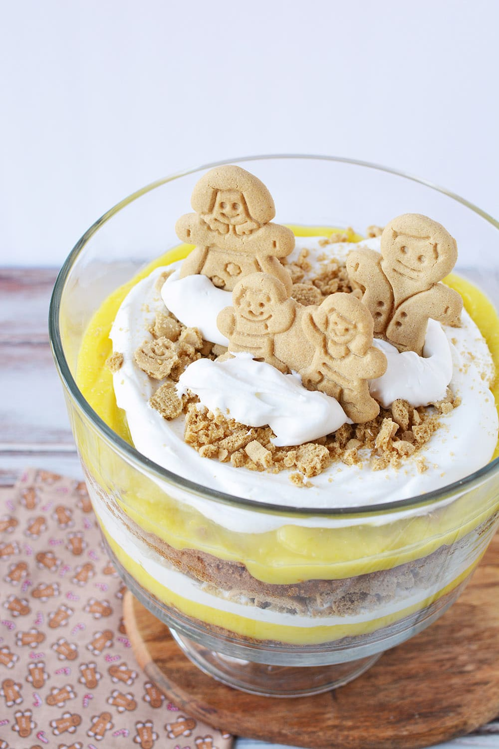Gingerbread man trifle on a table