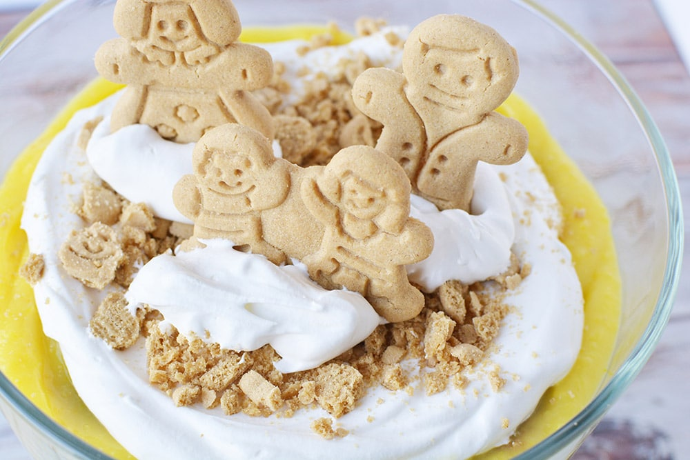 Gingerbread cookies on top of a pudding dessert.