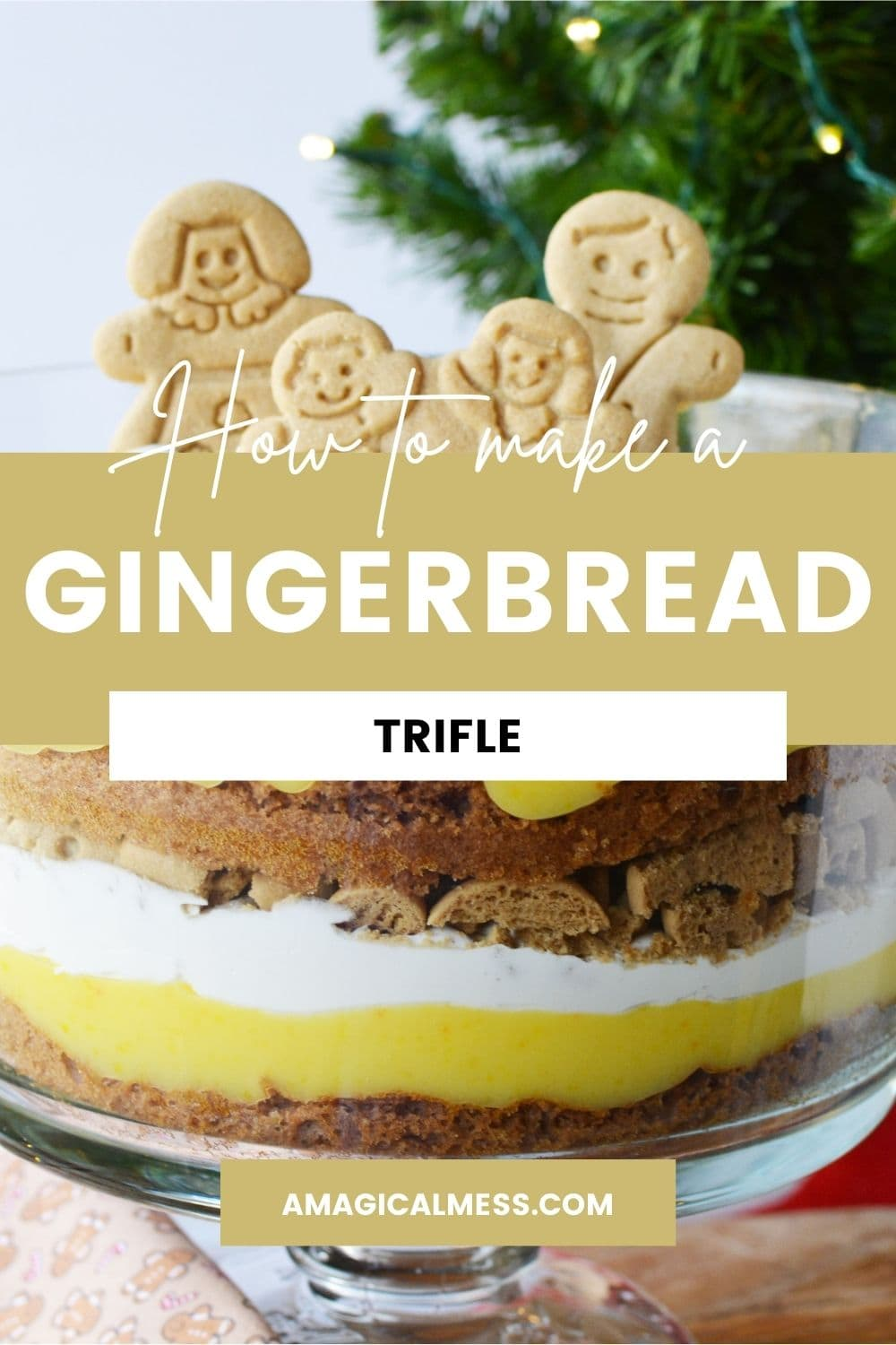 Gingerbread cookies in a layered trifle dessert.