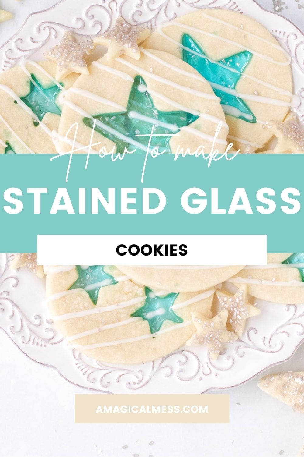 Blue star stained-glass cookies on a white plate