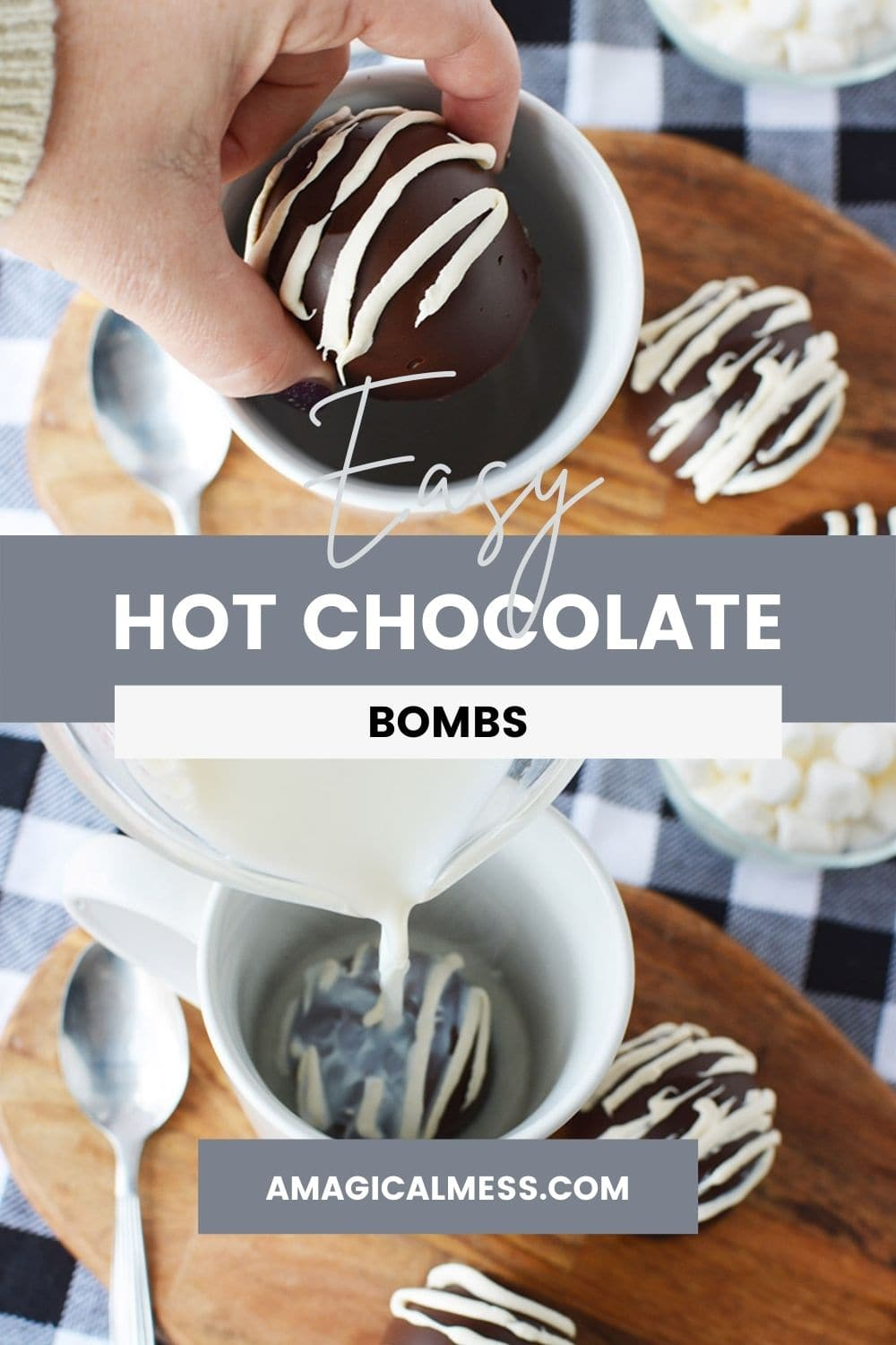 Dropping a hot chocolate bomb into a mug and pouring milk on it.