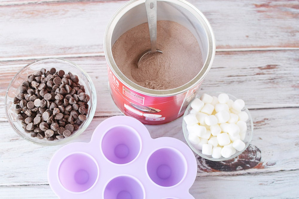 Ingredients to make hot chocolate bombs.