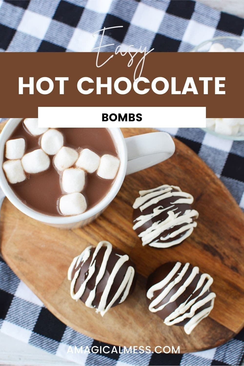 Hot chocolate bombs next to a mug of hot chocolate with marshmallows.